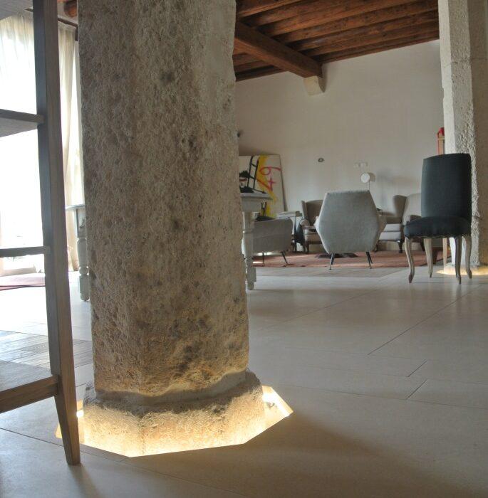 Pavimento in pietra trattata palladio bianca